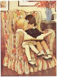 2 children  in the reading chair
