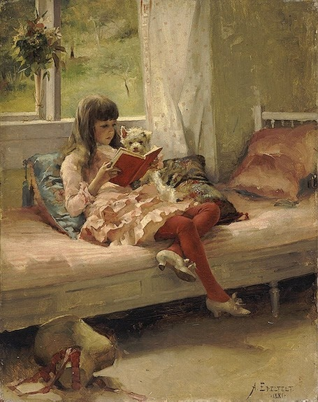 portrait of girl reading