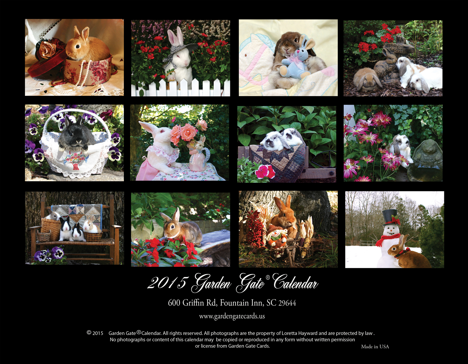 Garden Gate Rabbit Park 2015 Calendar Back Cover
